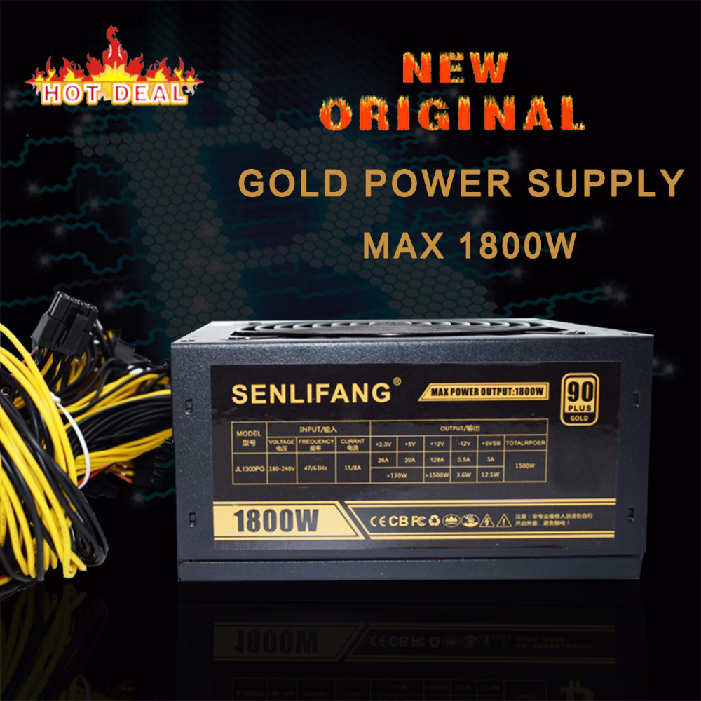New original Gold POWER 1800W BTC power supply for R9 380 RX 470 RX480 6 GPU CARDS 6 months  warranty free shipping btc 6411