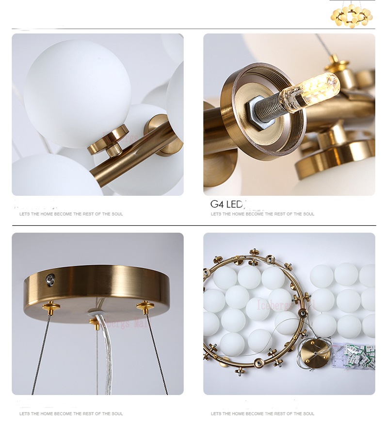 Magic Bean moderne LED suspension lustre lumières salon salle à manger G4 or/noir blanc verre lustre luminaires - 6