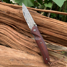 New SAMSEND natural particles red sandalwood  Damascus Pocket Knife VG10 Multifuntion Tools Hiking Camping Folding Knife tool