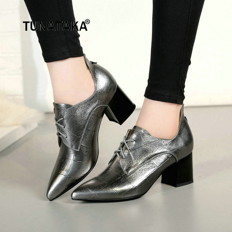 Genuine Leather Low Square Heel Lace Up Woman Pumps Fashion Pointed Toe Causal Shopping Ladies Shoes Black стоимость
