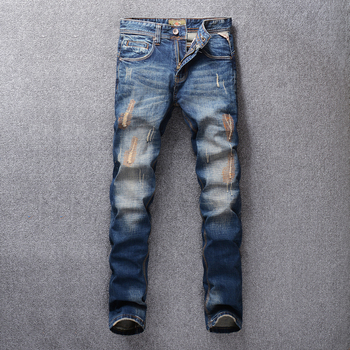 Fashion Streetwear Men Jeans Blue Color Slim Fit Embroidery Patch Design Ripped For Vintage Classical