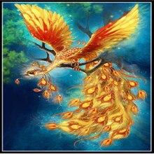 YIKELA Бесплатная кадров алмазная живопись 5D «сделай сам» вышивки крестом Животные Феникс Полный круглая мозаика Алмазная вышивка птица узоры