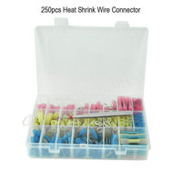 250pcs Heat Shrink Butt Electrical Crimp Wire Terminal Connector Kit Waterproof Marine Automotive Terminal Set Clip
