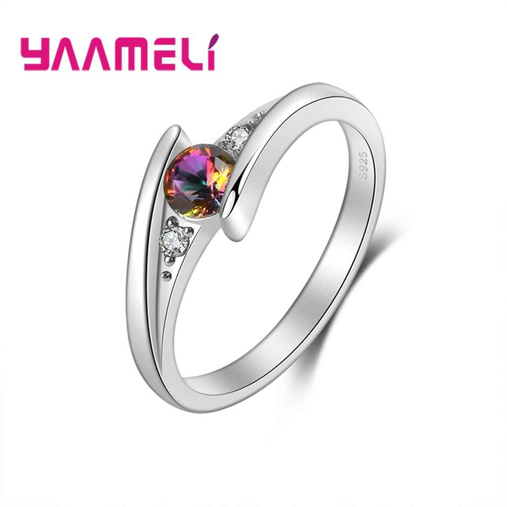 True Love 925 Sterling Silver Wedding Promise Rings Mystic Rainbow CZ Crystal Anniversary Jewelry for Lady Women Gifts