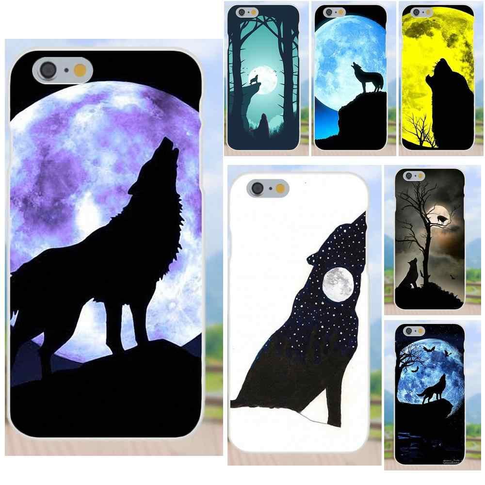 Фото Воющий волк силуэт полная луна роскошный ТПУ резиновый чехол для телефона Apple iPhone