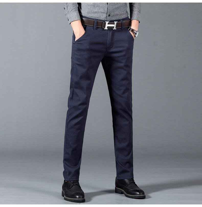 HTB1mRQ4azzuK1Rjy0Fpq6yEpFXaj 6 Color Casual Pants Men 2019 Spring New Business Fashion Casual Elastic Straigh Trousers Male Brand Gray White Khaki Navy