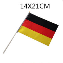 5PCS/lot the Hand flags 14*21CM of Russia, Germany, Brazil, Portugal, Argentina, Belgium, Poland, France with Pole Handing flag(China)
