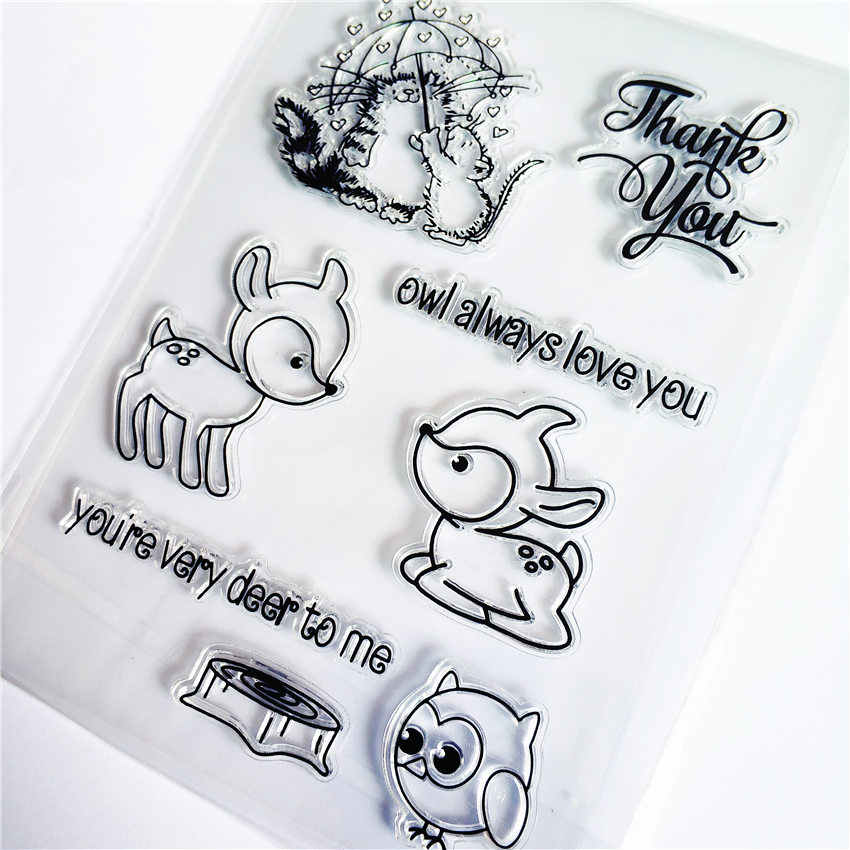 PANFELOU Lovely sika deer transparente sello de silicona transparente/sello para DIY scrapbooking/álbum de fotos hojas de sello transparentes decorativas