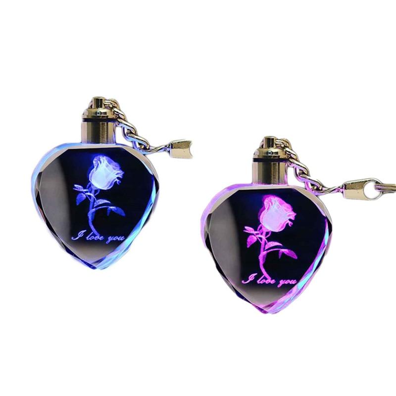 LED Keychain Luminous Heart-shaped Glowing Rose Night Light Key Chains Colorful Key Rings Night Lamp Souvenir Creative Gift
