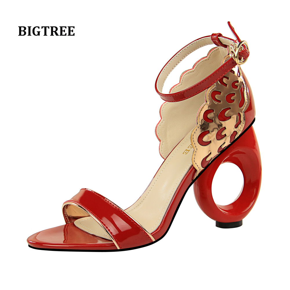 Free shipping real pic red black white nude patent metal back cover ankle strap hot sale
