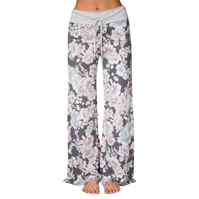 #4 2018 NEW Fashion Large Size Women Print Trousers Ladies Summer Loose Wide Leg Pants