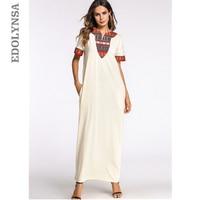Beige Patchwork Summer Maxi Dress V Neck Short Sleeve Caftan Long Robe Gowns Saudi Arabia Indonesia Malaysia Turkish Kaftan D477