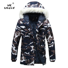 YK UNCLE Brand Camouflage Parkas Mens Military Winter Coat Thickening Warm Cotton-padded Jacket Male Fur Collar Hooded Wadded