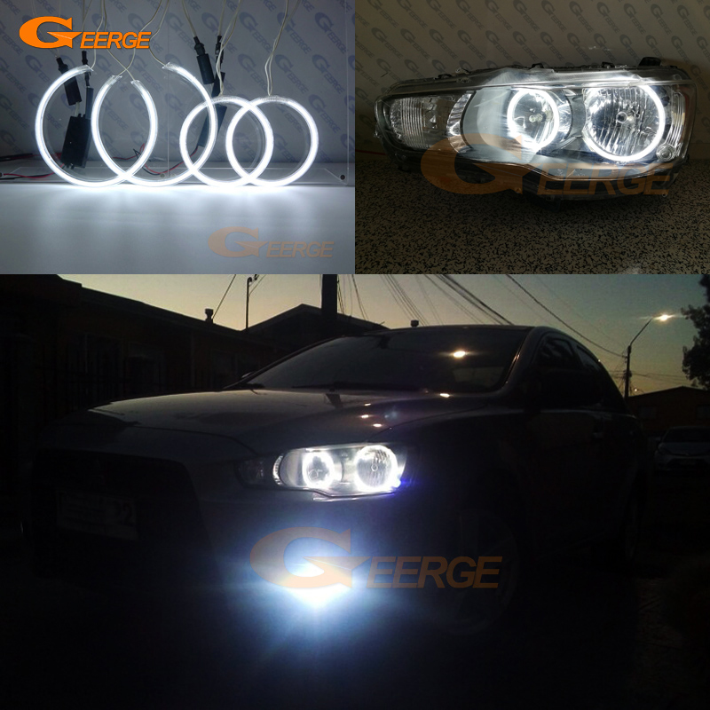Pour phare halogène 2007-2016 Mitsubishi Lancer X 10 Excellente illumination ultra brillante Kit Angel Eyes CCFL Halo Ring
