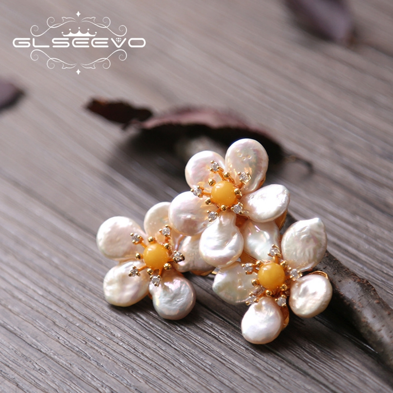 GLSEEVO Natural Fresh Water Baroque Pearl Brooch Pins Beeswax Brooches For Women Gift Dual Use Luxury Fine Jewelry GO0188 glseevo natural rhodochrosite fresh water pearl leaf brooch pins and brooches for women gift dual use luxury fine jewelry go0185