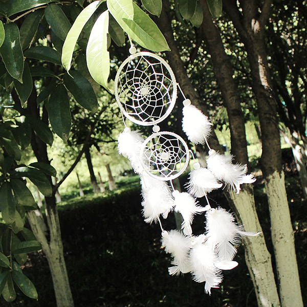 Dream Catcher Group Home Dream Catcher white two loop natural Style Feather Pendant Home 8