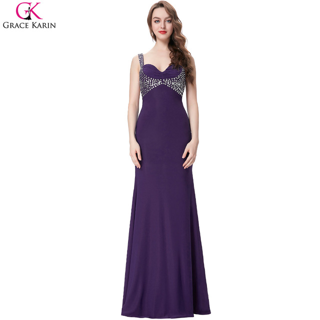 17d01927f29270 Black Fitted Prom Dress 2017 Elegant Grace Karin Purple Dresses Long Formal  Gowns Bodycon Sequin Backless Mermaid Prom Dresses