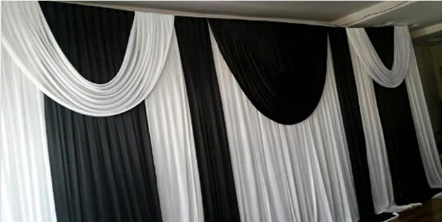 3 6m Black And White Funeral Backdrop Church Stage Curtain Backdrops