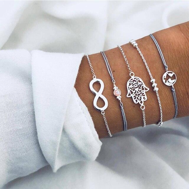 5 Pcs/ Set Punk Retro Palm Map Digital Bead Gem Silver Leather Chain Pendant Bracelet Set Female Charm Multilayer Bracelet Set
