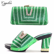 Capputine High Quality Rhinestone Green Shoes And Bags Set Italian Style Gold Color Shoes And Bag Set For Party Dress