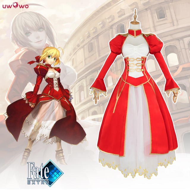 Sable Uwowo Traje Artoria Pendragon Anime Fate Stay Night Fate Zero PPI Nero Cosplay Vestido Rojo