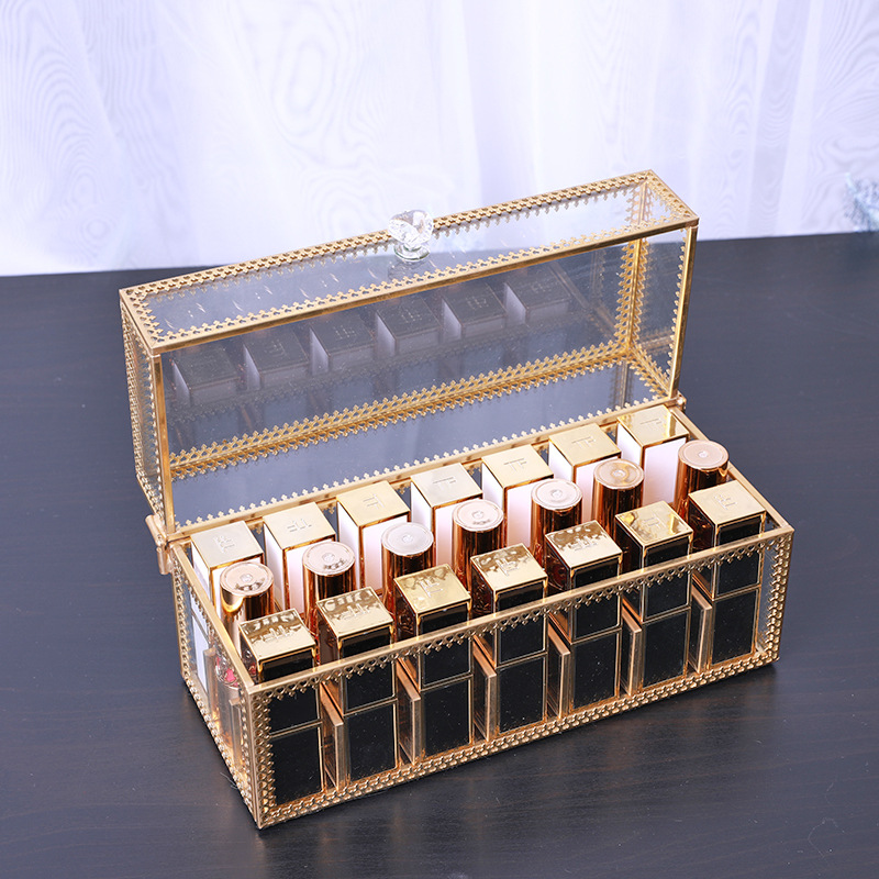 European Glass Dust-proof Lipstick Storage Box Cosmetic Lipstick Makeup Box Female Desktop Finishing Non-acrylic Set Shelf(China)