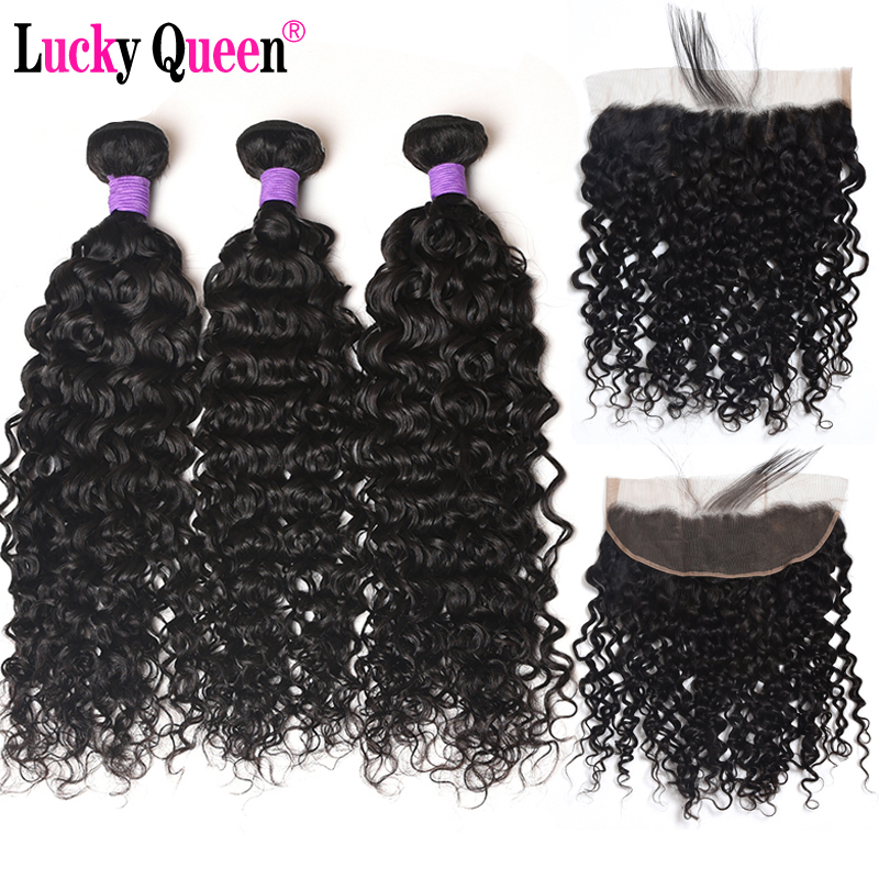 Lucky Queen Hair Brazilian Water Wave Bundles With 13 4 Frontal 4pcs lot Remy Hair Weave