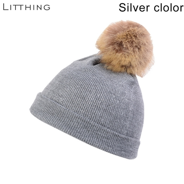 LITTHING Winter Hats For Women Girl 's Hat Knitted Beanies Cap Hat Thick Women Skullies Beanies Winter Brand Female Fur Poms Hat