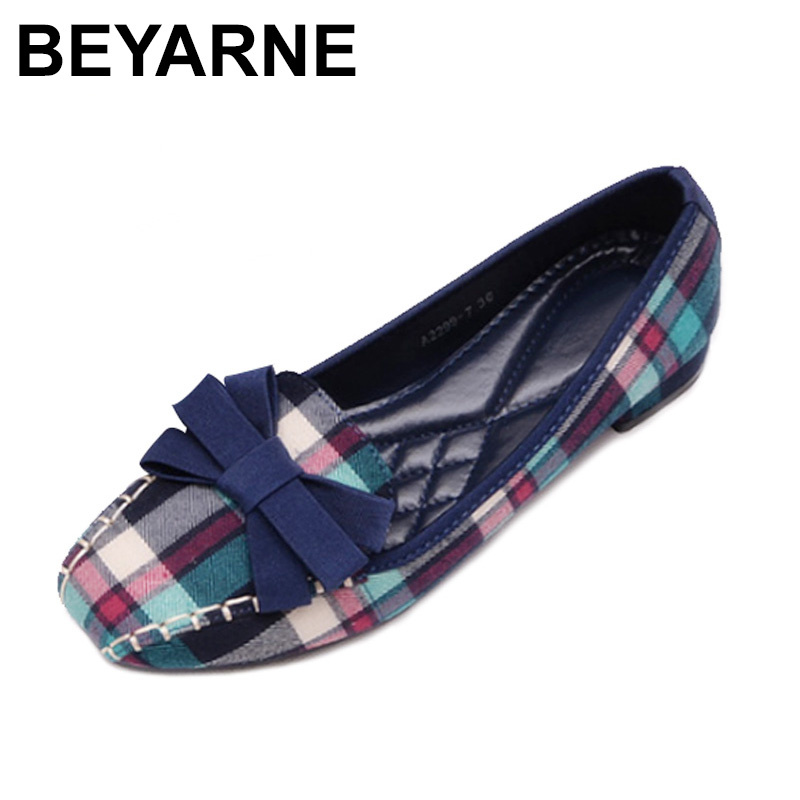 BEYARNE Fashion Women's Shoes 2018 Spring New Women Flats Plaid Cotton Fabric Bow Square Toe Slip-On Flat Casual Shoes beyarne spring summer women moccasins slip on women flats vintage shoes large size womens shoes flat pointed toe ladies shoes