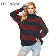 Winter Knitted Sweater Women Casual Turtleneck Long Sleeve Striped Pullovers Plus Size Ladies Fashion Streetwear