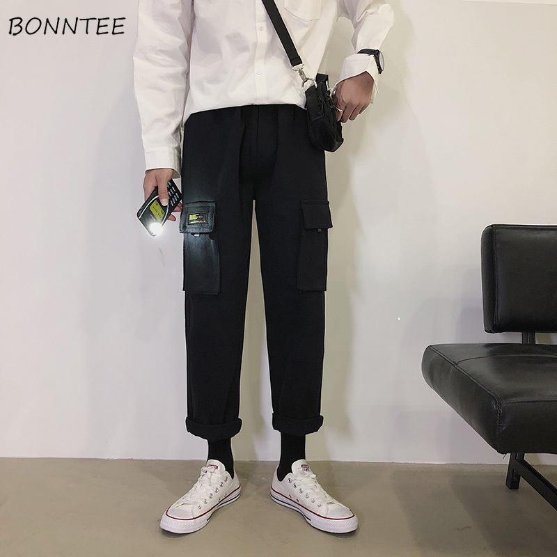 Pants Men Cargo Pant BF Loose Mid Full Length High Quality Mens Comfortable All Match Simple Males Ulzzang Trousers Daily Chic(China)