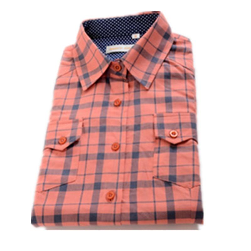 Women Plaid blouses womens casual shirts girl cotton Slim shirt ...