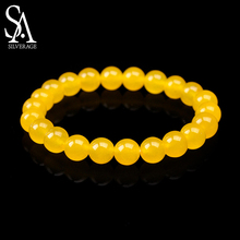 SA SILVERAGE New Bracelet Natural Stone Natural Yellow Agate Jade Bead Bracelet Round 8mm Bracelets Yoga Wristband for Men Women lii ji natural stone black onyx agate clear quartz crystal with jade clasp bracelet for women party