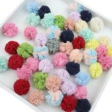 Bola de gaze de renda 20-100 peças, elásticas de flores, faça você mesmo, artesanato, decoração de casamento, bolas de fio, enfeites de jóias pompones