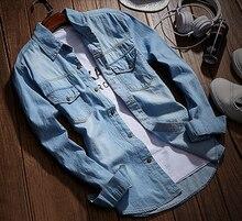 Camisas de mezclilla Hombres Pantalones Vaqueros de La Manera Delgada Camisa de Manga Larga Camisa Casual Masculina Camisas de Mezclilla Para Hombre 3XL EE. UU. Estilo Euopean(China (Mainland))