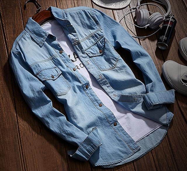9c841b4aaa Denim Shirts Men Casual Shirt Long Sleeve Fashion Slim Camisa Jeans  Masculina Mens Denim Shirts 3XL