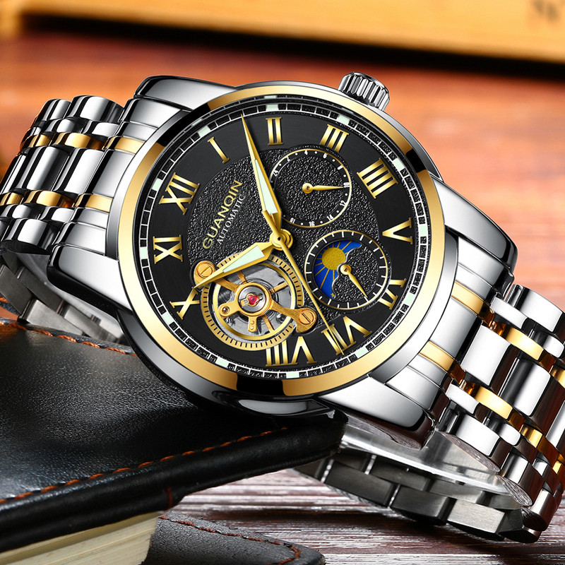 relogio masculino GUANQIN Brand Luxury Tourbillon Skeleton Watch Men Sport Full Steel Waterproof Automatic Mechanical Wristwatch недорго, оригинальная цена
