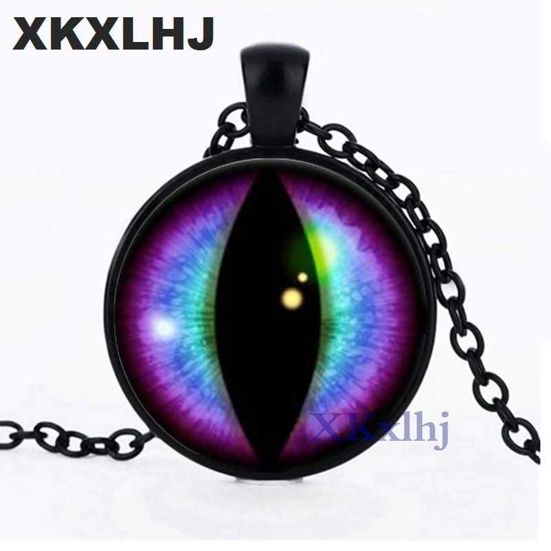 XKXLHJ синий и фиолетовый глаз драконов кабошон стекло серебряное ожерелье для мужчин и женщин ювелирные изделия