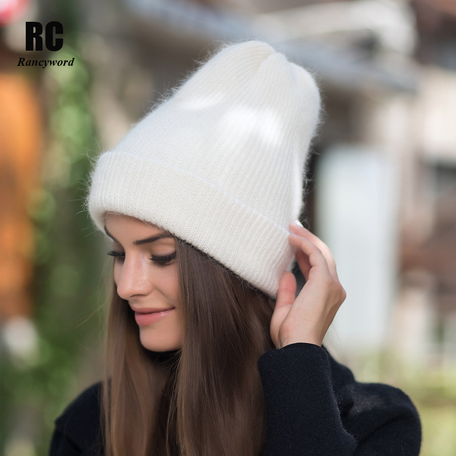 [Rancyword] Gorros de invierno para mujer Gorros tejidos de lana de conejo sombrero de piel femenina de piel Real gorras Gorros de Color sólido RC1222-2