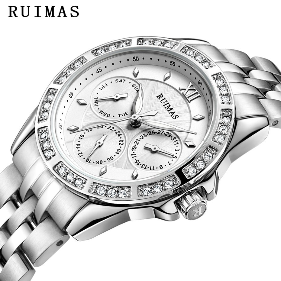 Ladies Top Brand Luxury Watch Women Watches Fashion Stainless Steel Clock Quartz Wristwatches New Casual RUIMAS Relogio Feminino ruimas fashion leather quartz watch top brand luxury women watches ladies clock relogio feminino montre femme lover wristwatches