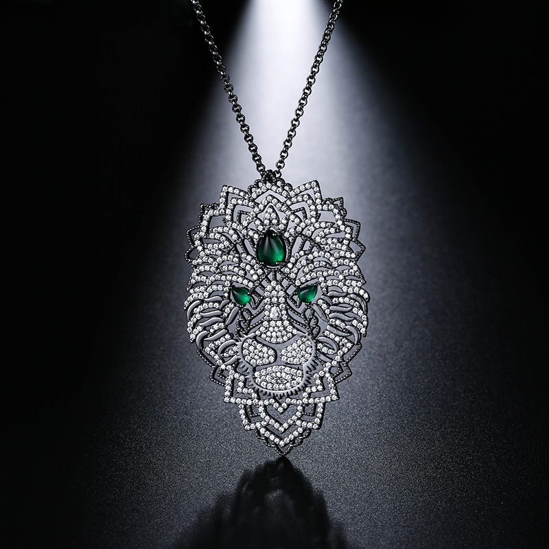 UMGODLY New Arrival Luxury Cubic Zirconia Black Dark Gray Necklaces Leaves Black Color Lion Pendant Women Fashion Jewelry