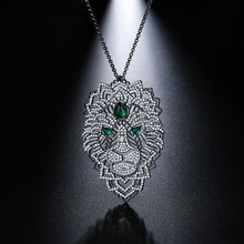 UMGODLY Nieuwe Collectie Luxe Zirconia Zwart Donkergrijs Kettingen Bladeren Zwarte Kleur Leeuw Hanger Vrouwen Mode sieraden
