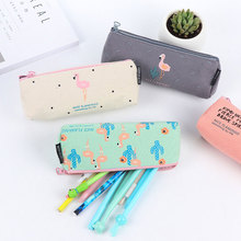 1X Creative Cute flamingo korean canvas pencil case kawaii stationery bag Animal estojo escolar school supplies