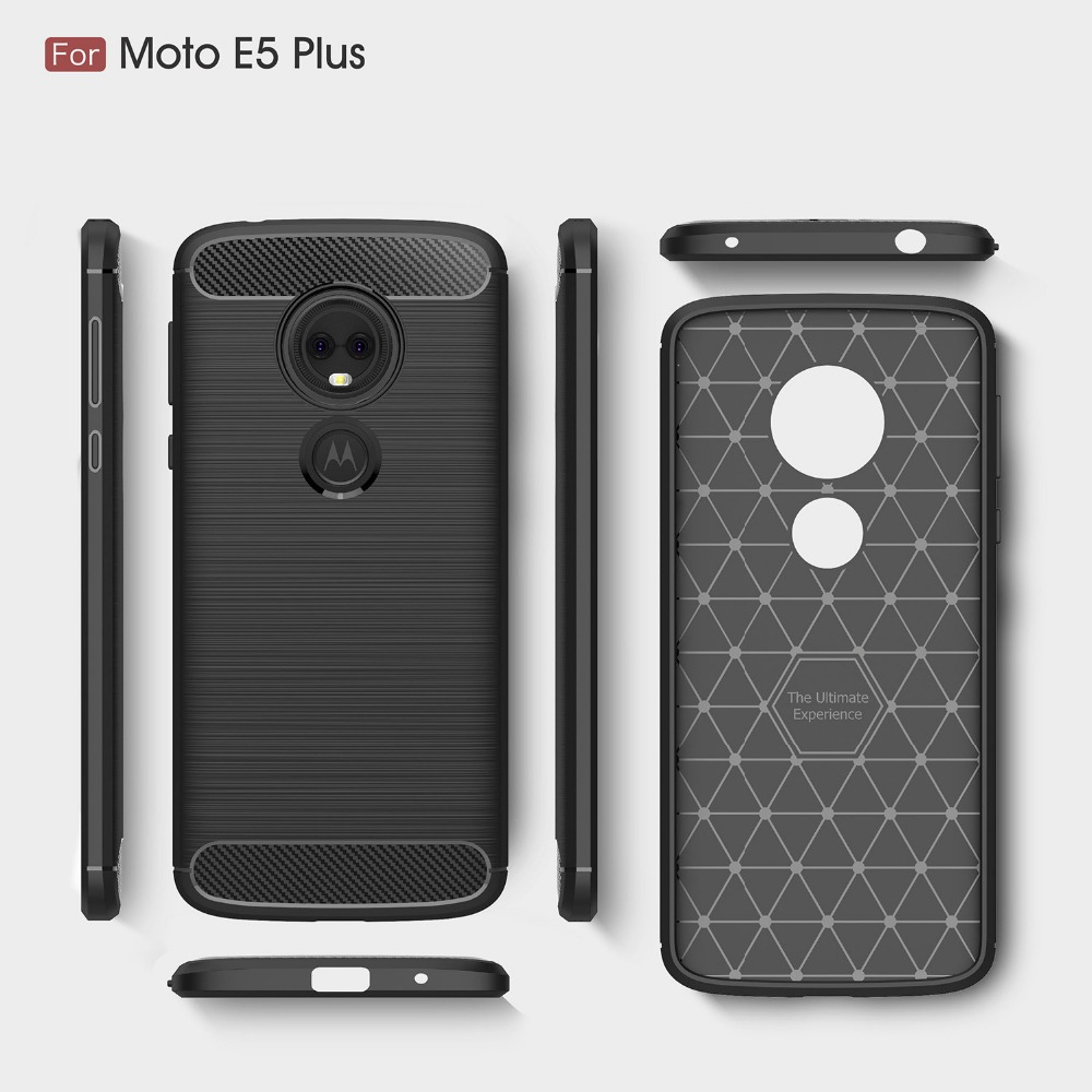 For Motoroal E5 E5 Plus Brushed Carbon Fiber Case Silicone Surface Soft Matte TPU Shockproof Back Cover Case For E5 Play Go Capa in Fitted Cases from Cellphones Telecommunications