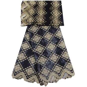 2019 Black Color African Bazin Riche Getzner Brocade Fabric Embroidered With Beads Lace Fabric Bazin Material For Women 1304