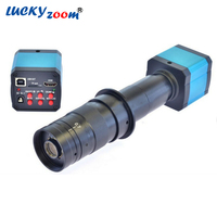Luckyzoom HD 14MP HDMI 720P USB Digital Industry Video Inspection Microscope Camera Set TF Card Recorder 180X C MOUNT Zoom Lens