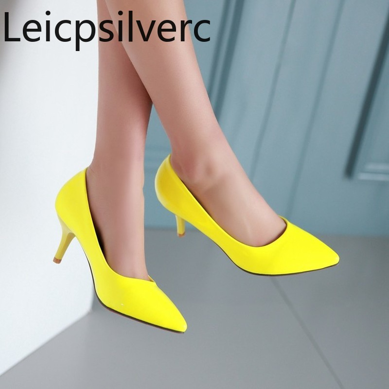 Pumps Spring And Autumn New Style Pointed Shallow Mouth Fine Heel High Heel Women's Single Shoes Yellow White Plus Size 33-43