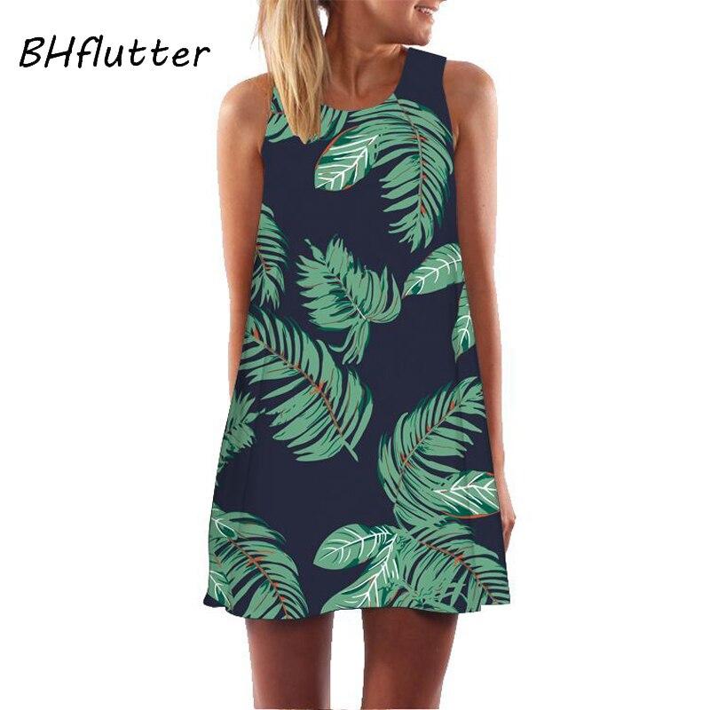 Women Floral  Sundress Casual Dress Print Chiffon Dress Sleeveless  2