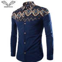 VISADA JAUNA Men's Shirt 2017 New Fashion Long Sleeve Floral Patchwork Slim Fit High Quality Turn-down Collar Shirts 5XL N525