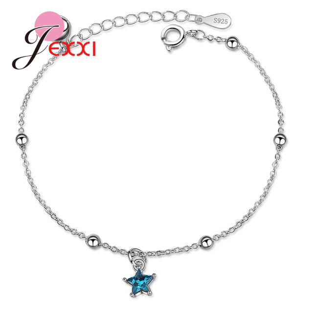 Genuine Brand Big Promotion 925 Sterling Silver Color Blue Cubic Zirconia Star Shape Pendant Bracelet For Women Girl Birthday